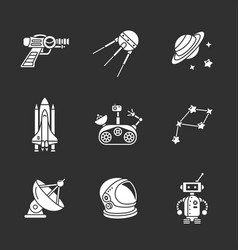 Nine stylish space icons vector