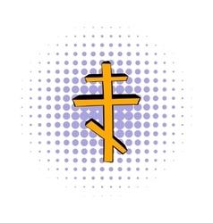 Orthodox cross icon comics style vector