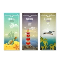 Retro sea nautical vertical banners vector