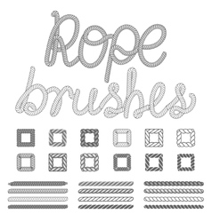 Rope nautical pattern brushes set vector