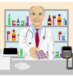Senior pharmacist giving pills in blister pack vector