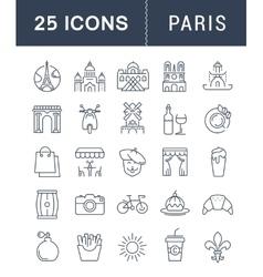 Set Flat Line Icons Paris vector image vector image
