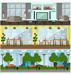Set of internet interior concept posters vector