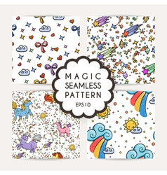 Set of simple seamless patterns with hand drawn vector