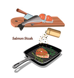 sketch colorful salmon steak cooking concept vector image vector image