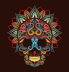 Skull and lotus flower vector