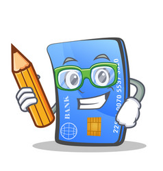 Student credit card character cartoon with pencil vector
