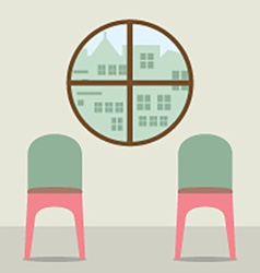 Two chairs under round window vector
