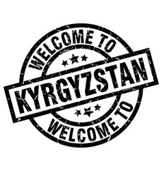 Welcome to kyrgyzstan black stamp vector