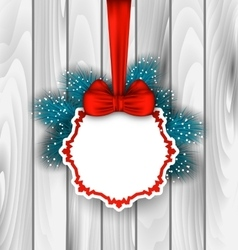 Winter elegant card with red bow ribbon vector