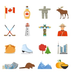 Canada national symbols flat icons collection vector