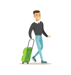 Man arriving with green suitcase part of airport vector