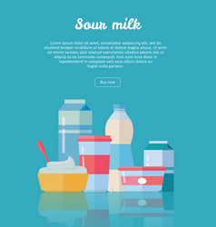 Set of traditional dairy products from sour milk vector