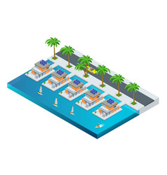 luxury tropical hotel resort with palm tree vector image