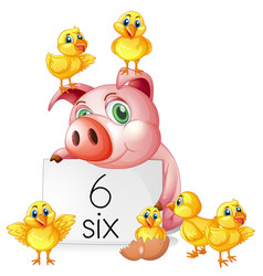 Counting number six with pig and chicks vector