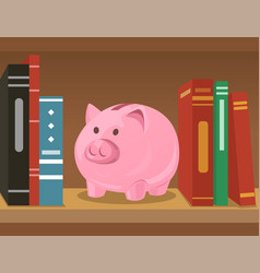 Piggy bank on bookshelf vector