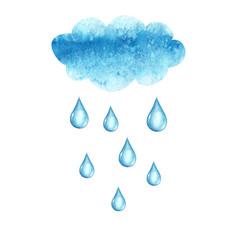 watercolor cloud and rain drops vector image