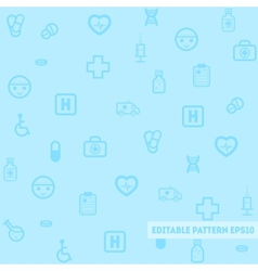 Seamless medical pattern with blue background vector