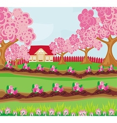 Garden full of flowers vector