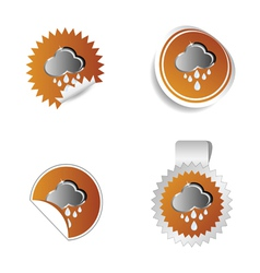 Sticker weather forecast cloud and rain vector