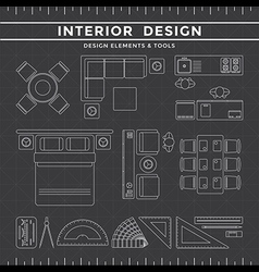 Interior design elements and tools on dark vector