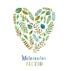 Heart of watercolor leaves vector