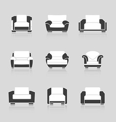 Set of black and white armchairs vector