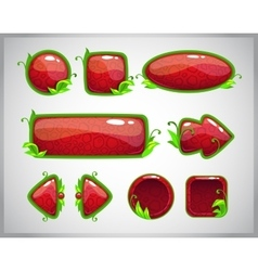 Cartoon red glossy buttons with nature elements vector