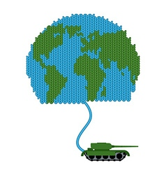 Tank dissolves knitted world To wage war Start of vector image