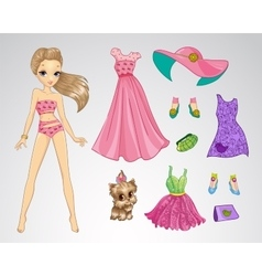 Paper style pink blonde doll vector