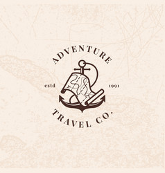 Anchor logo with treasure map in vintage style vector