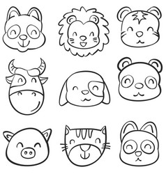 animal head cute funny doodles vector image vector image