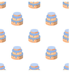 Blue three-ply cake icon in cartoon style isolated vector