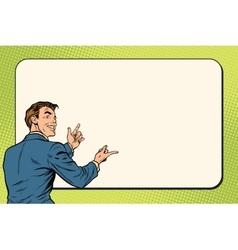 Businessman showing on Billboard background vector image vector image