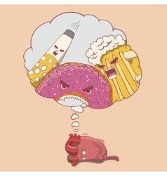 cartoon heart character afraid of alcohol donut vector image vector image