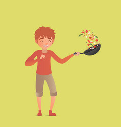 Child tossing vegetables in a wok flipping food in vector