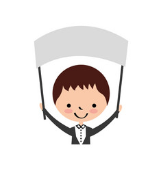 Cute husband with banner avatar character vector