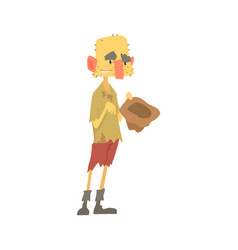 Dirty homeless man character in ragged clothes vector