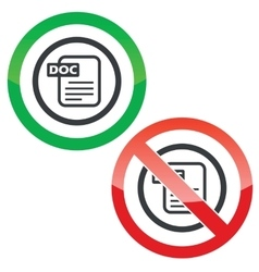 DOC file permission signs vector image