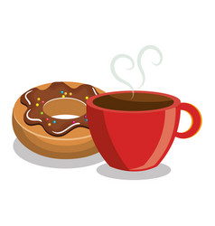 Donut coffee sweet dessert isolated vector