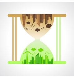 Eco and polluted city concept with sand watch vector