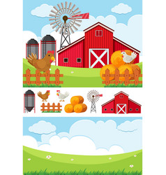 Farm scene with field and chickens vector