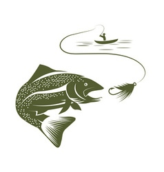 fisherman in boat and trout vector image