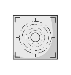 Grayscale gun sight circle with shooting focus vector
