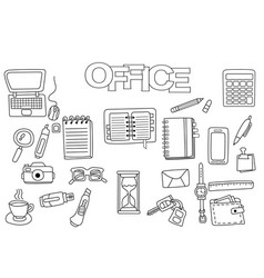 Hand drawn office set coloring book template vector