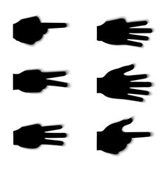 Hand gesture silhouettes with shadow effect vector image