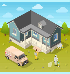 House disinfection isometric background vector