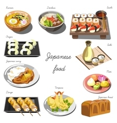 Japanese cuisine set collection of food dishes vector