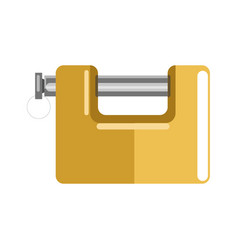 Lock with latch and shiny yellow corpus isolated vector