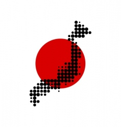 map and flag of japan vector image vector image
